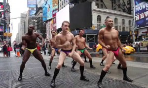 Underwear Models Stage Strip-Down Flashmob In Times Square