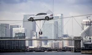 Jaguar Launch New XF by Driving it Over the Thames on Cables